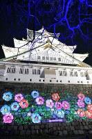 大阪城に映し出される来場者の顔=大阪市中央区で2019年1月11日、望月亮一撮影