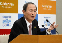 Yasumi Kudo, vice chairman of the Japan Business Federation, speaks at a news conference in Tokyo's Chiyoda Ward on Jan. 22, 2019. (Mainichi/Ryo Yanagisawa)