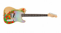 This image released by Fender shows a recreation of a Telecaster guitar that Jimmy Page once painted with a dragon, a long-lost piece of six-string history that marked the guitar hero's last days in the Yardbirds and first days in Led Zeppelin. (Fender via AP)