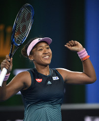 Japan's Naomi Osaka celebrates after defeating Karolina Pliskova of the Czech Republic in their semifinal at the Australian Open tennis championships in Melbourne, Australia, on Jan. 24, 2019. (AP Photo/Andy Brownbill)
