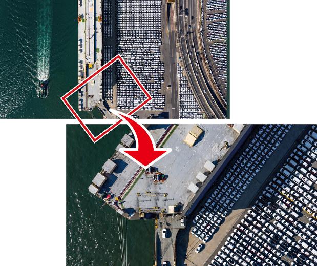 いまの産業用ドローンの空撮性能は高い。港湾の全景(上)から細部(下)まで鮮明に撮影(Bloomberg)