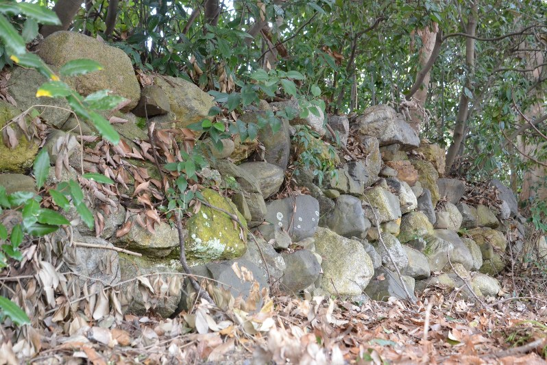 京都御苑椹木口に移築復元された、織田信長時代の二条城石垣=京都市で2018年2月19日、礒野健一撮影
