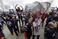 スーパーボウルに向け盛り上がるペイトリオッツのファン=米ジョージア州アトランタで2019年2月3日、AP