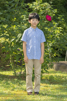 Prince Hisahito is seen at Akasaka Estate in Tokyo's Minato Ward on Aug. 10, 2018. (Photo courtesy of the Imperial Household Agency)