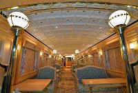 JR九州:組子細工を使った「或る列車」の内装=北九州市小倉北区で2015年7月17日午前、矢頭智剛撮影