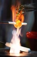 ガラス棒を炎で溶かして作られるアクセサリーの部品=大阪府和泉市の佐竹ガラスで、猪飼健史撮影