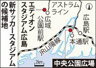 広島の新サッカースタジアムの候補地