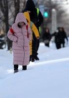 寒そうに雪の中を歩く子供たち=札幌市中央区で2019年2月8日午後3時、貝塚太一撮影