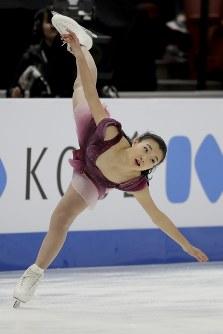 【フィギュア4大陸選手権女子SP】2位発進の坂本花織(日本)の演技=米カリフォルニア州アナハイムで2019年2月7日、AP