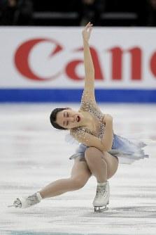 【フィギュア4大陸選手権】女子フリーで、紀平に次ぐ高得点を出した三原舞依(日本)の演技=米カリフォルニア州アナハイムで2019年2月8日、AP