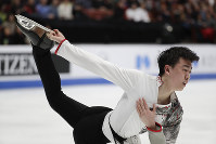 Vincent Zhou, of the United States, performs during the men's free skate competition at the Four Continents Figure Skating Championships on Saturday, Feb. 9, 2019, in Anaheim, Calif. (AP Photo/Chris Carlson)