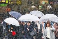 雪が降る中、傘を差して歩く人たち=JR新宿駅前で2019年2月9日午前10時35分、長谷川直亮撮影