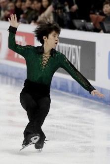 【フィギュア4大陸選手権】男子フリー、友野一希(同志社大)の演技=米カリフォルニア州アナハイムで2019年2月9日、AP