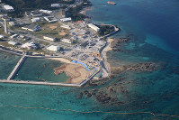 Offshore areas of the Henoko district of Nago, Okinawa Prefecture, where reclamation work as part of the relocation of U.S. Marine Corps Air Station Futenma is underway, is seen in this photo taken from a Mainichi Shimbun aircraft on Jan. 28, 2019. (Mainichi/Akihiro Ogomori)