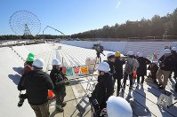 The Kasai Canoe Slalom Centre for the 2020 Tokyo Olympics and Paralympics that is under construction is shown to the press in Tokyo's Edogawa Ward on Feb. 12, 2019. (Mainichi/Yuki Miyatake)