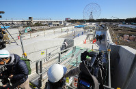 The Kasai Canoe Slalom Centre for the 2020 Tokyo Olympics is seen under construction in Tokyo's Edogawa Ward on Feb. 12, 2019. (Mainichi/Yuki Miyatake)