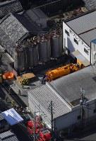 転落事故があった現場=大阪府和泉市で2019年2月13日午前11時59分、本社ヘリから山田尚弘撮影