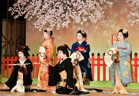「北野をどり」の衣装合わせで、舞台上での記念撮影に臨む上七軒の芸舞妓ら=京都市上京区で2019年2月13日午前11時9分、川平愛撮影