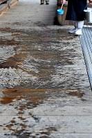 大和路に春を呼ぶ火祭り「だだおし」で、防火のため鬼が登場する前に水が撒かれた回廊=奈良県桜井市で2019年2月14日午後4時26分、山崎一輝撮影