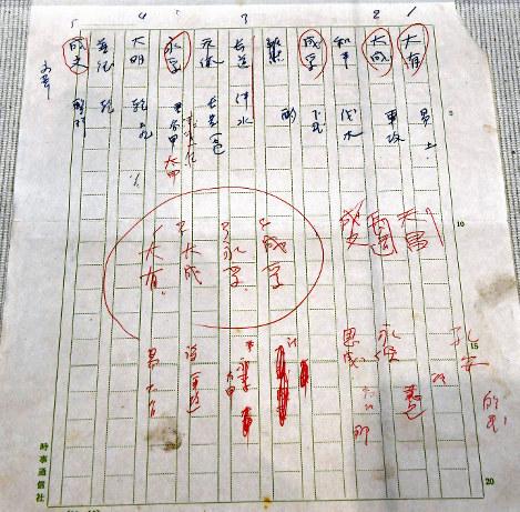 目加田誠九州大名誉教授が推敲に使った手書きのメモ=福岡県大野城市で、野田武撮影