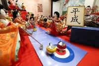 平昌五輪のカーリング女子をひな人形で表現する「福よせ雛」=岐阜県郡上市で2019年2月1日、兵藤公治撮影