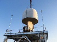 A multi parameter phased array weather radar (MP-PAWR) is seen under a dome-type cover in this photo provided by the National Institute of Information and Communications Technology.