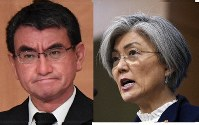Japanese Foreign Minister Taro Kono (left, Mainichi) and South Korean Foreign Minister Kang Kyung-wha (AP)