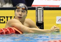 競泳男子100メートル自由形決勝を制した中村克=千葉県国際総合水泳場で2019年2月17日、梅村直承撮影