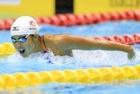 競泳女子200メートルバタフライ決勝、2位となった持田早智=千葉県国際総合水泳場で2019年2月17日、梅村直承撮影