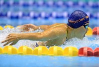 競泳女子200メートルバタフライ決勝を制した長谷川涼香=千葉県国際総合水泳場で2019年2月17日、梅村直承撮影