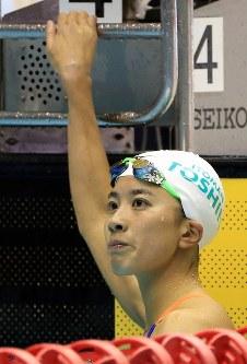 競泳女子200メートル個人メドレー決勝を制し険しい表情の大橋悠依=千葉県国際総合水泳場で2019年2月17日、梅村直承撮影