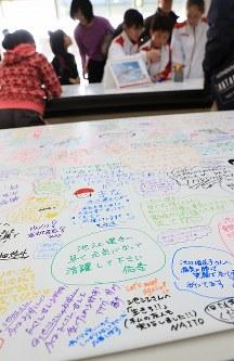 池江璃花子選手への励ましの言葉がびっしりと書かれた寄せ書き=千葉県国際総合水泳場で2019年2月17日、梅村直承撮影