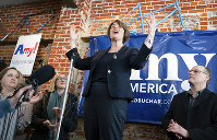 Democratic presidential candidate Sen. Amy Klobuchar, D-Minn., campaigns in Eau Clare, Wis., on Saturday, Feb. 16, 2019. (Glen Stubbe/Star Tribune via AP)