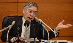 記者会見で質問に答える黒田東彦・日銀総裁=2019年1月23日、後藤豪撮影
