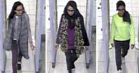 ロンドン警視庁が公開したシャミマ・ベグムさん(中央)ら3人の画像=英ガトウィック空港で2015年2月(ロンドン警視庁提供・AP共同)