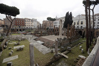 This photo shows the archeological site of Largo Argentina, in Rome, on Feb. 18, 2019. (AP Photo/Gregorio Borgia)