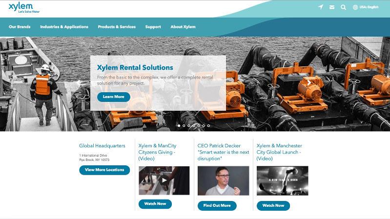 水に関する事業を幅広く展開するザイレムのホームページ