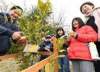 レモンの収穫祭で笑顔を見せる子どもたち=堺市南区で2019年2月16日、山田尚弘撮影