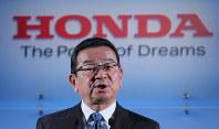 Takahiro Hachigo, president of Honda Motor Co., speaks at a news conference in Tokyo's Minato Ward on Feb. 19, 2019. (Mainichi/Naoaki Hasegawa)