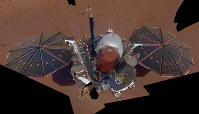This Dec. 6, 2018 image made available by NASA shows the InSight lander. The scene was assembled from 11 photos taken using its robotic arm. (NASA via AP)