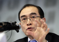 Thae Yong Ho, former North Korean diplomat, who defected to South Korea in 2016, speaks to the media in Seoul, South Korea, on Feb. 19, 2019. (AP Photo/Lee Jin-man)