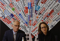 BishopAccountability.org group director Phil Saviano, left, and co-director Anne Barrett Doyle, attend a press conference at the foreign press association in Rome, on Feb. 19, 2019. (AP Photo/Alessandra Tarantino)