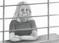 大阪拘置所で記者との面会に応じる筧千佐子被告=イラスト・遠藤浩二