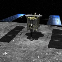 小惑星リュウグウに着陸するはやぶさ2の想像図=池下章裕さん提供