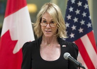 In this Oct. 23, 2017, file photo, United States Ambassador to Canada Kelly Knight Craft speaks after presenting her credentials during a ceremony at Rideau Hall in Ottawa. (Adrian Wyld/The Canadian Press via AP)