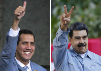 This photo combo of file photos shows opposition leader and self-proclaimed interim president of Venezuela Juan Guaido, left, on Feb. 8, 2019 and Venezuela's President Nicolas Maduro, on Feb. 7, 2019, both in Caracas, Venezuela. (AP Photos/Ariana Cubillos)
