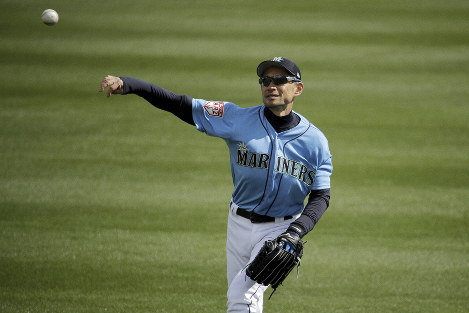 Seattle Mariners right fielder Ichiro Suzuki warms up in the outfield before the second inning of a spring training baseball game against the Oakland Athletics, on Feb. 22, 2019, in Peoria, Ariz. (AP Photo/Charlie Riedel)