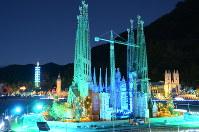 Miniature versions of the Sagrada Familia and other buildings are lit up at the Tobu World Square theme park in the city of Nikko, Tochigi Prefecture, north of Tokyo, on Nov. 1, 2018. (Mainichi/Makoto Hananoi)