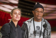 Brie Larson and Samuel L. Jackson appear during rehearsals for the 91st Academy Awards in Los Angeles on Saturday, Feb. 23, 2019. (Photo by Charles Sykes/Invision/AP)