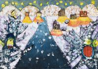 山形県米沢市松川小3年の松崎心春さんが描いた作品。「さとやまさん」(アリス館)を読んで、家から温かい光がこぼれる情景を描きたいと思ったという=提供写真